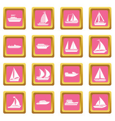 Boat and ship icons pink vector