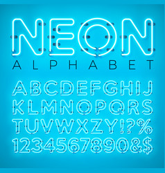 Bright neon alphabet on blue background vector