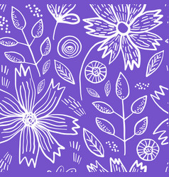 bright violet pattern with spring flowers vector image