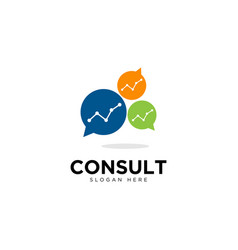 Business consulting logo template speech bubble vector