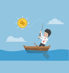 businessman catching dollar coin fishing rod vector image