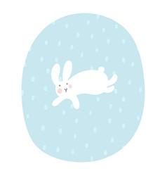 cartoon bunny is running under snowfall easter vector image