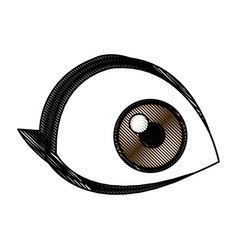 cartoon eye human look watch icon vector image