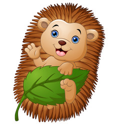 Cartoon hedgehog with holding leaf and waving hand vector