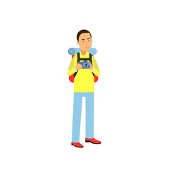 cartoon man tourist character with photo camera in vector image