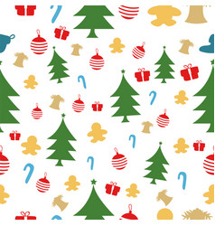 christmas seamless pattern isolated over white vector image