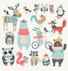 Christmas set with cute animals hand drawn style vector