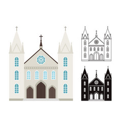 church buildings isolated on white vector image