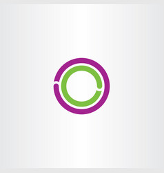circle o letter logo purple green icon vector image