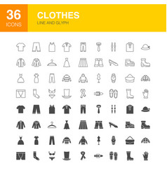 clothes line web glyph icons vector image