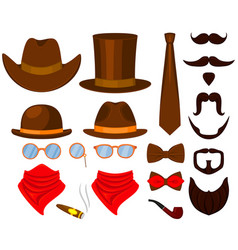 colorful cartoon hipster 21 element set vector image