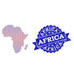 composition of gradiented dotted map of africa and vector image