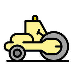 Construction road roller icon color outline vector