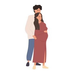 Couple man and pregnant woman vector