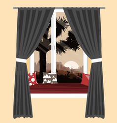 cozy sofa on window sill with the vector image