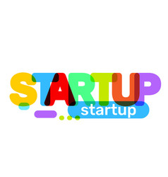 creative of startup business word lettering vector image