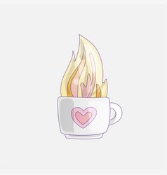 cup with hot tea mug hot vector image