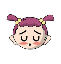 Cute baby girl head with hairstyle design vector