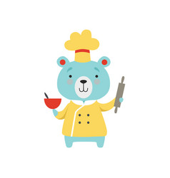 cute bear in chef uniform holding rolling pin and vector image