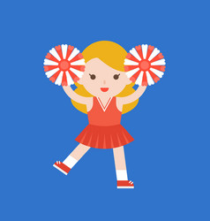 Cute cheerleader and pom flat design vector