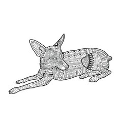 Cute coloring page dog of breed chihuahua vector