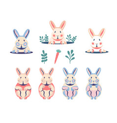 Cute flat rabbits bunnies collection for easter vector