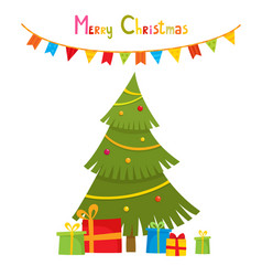 decoration balls and garlands decorated christmas vector image