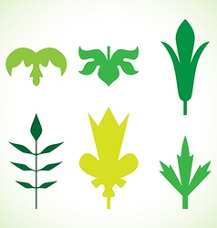 Decorative green leaves pattern set isolated vector image