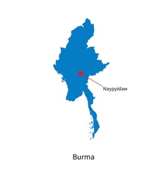 Detailed map of Burma and capital city Naypyidaw vector