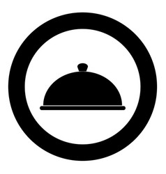 Dish the black color icon in circle or round vector