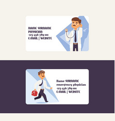 doctor business card doctoral character vector image