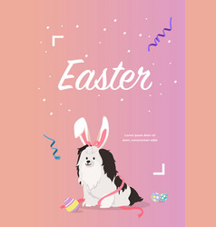Dog as easter hare with easter eggs vector