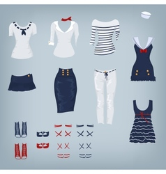 Female navy set of clothes vector image