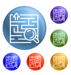 find solution icons set vector image