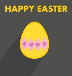 Flat easter egg with wishes on dark background vector image