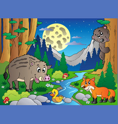 Forest scene with various animals 4 vector