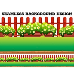 Garden background with flowers and lawn vector