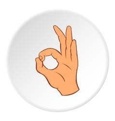 Gesture okay icon cartoon style vector
