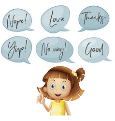 Girl and different speech bubbles with words vector