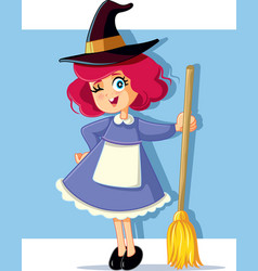girl in witch costume ready for halloween vector image