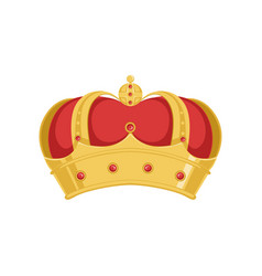 Golden pope or king crown crown with red velvet vector