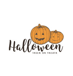 halloween pumpkin card vector image