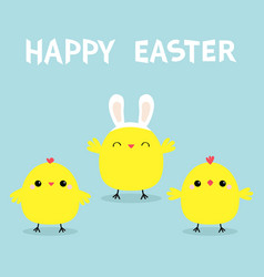 happy easter chicken bird face head wearing bunny vector image
