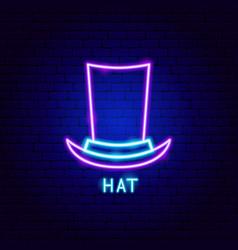 Hat neon label vector