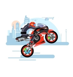 High-speed motorcycle rides on one wheel vector image