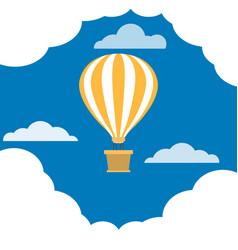 Hot air balloon flies in sky among clouds vector