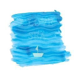 i love sea vector image