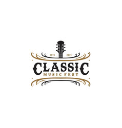 inspirational guitar music classic fest in vintage vector image
