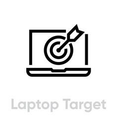 Laptop target icon editable line vector