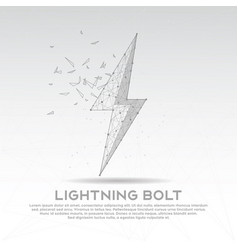 Lightning bolt mesh line digitally drawn low poly vector
